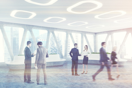 People in a spaceship style office interior concrete floor and panoramic windows with triangular frames. There are original flower beds with fresh grass. Side. 3d rendering mock up toned image