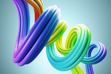 Abstract colorful three dimensional line curving against a blue background. Concept of creativity. 3d rendering mock up