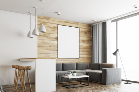 Living Room In A Studio Apartment With Wooden And White Walls ...
