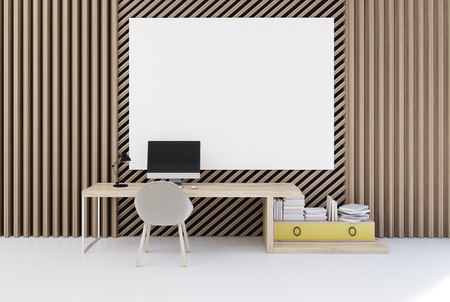 Plank office interior with walls made of straight and diagonal planks of wood. There is a poster above a desk with a computer. Bookshelf with two drawers in the corner. 3d rendering mock up Stockfoto