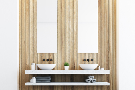 conveniences: Wooden bathroom with a light wall, two white sinks and two tall rectangular mirrors hanging above them. 3d rendering Stock Photo