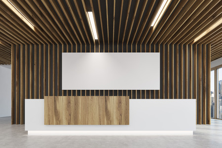 Close up of a white and light wooden reception counter is standing in a light colored office lobby with wooden decoration elements. Long horizontal poster. Empty hall. 3d rendering, mock up Stock Photo