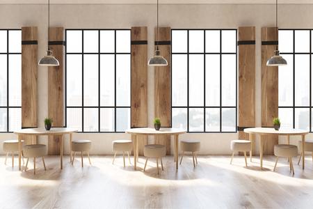 コンクリートの壁と床、背の高い窓、木製のシャッターとモダンなカフェのインテリア、椅子、ラウンド テーブルのクローズ アップ。3 d レンダリ 写真素材