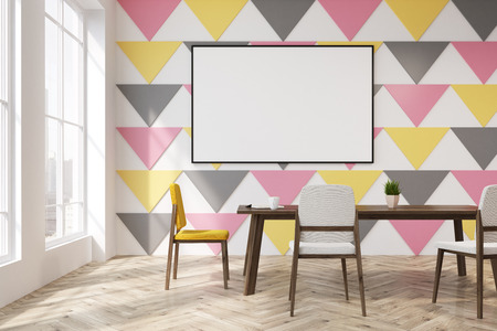 Dining room interior with a colorful triangular pattern on a wall, tall windows and a rectangular table with yellow and white chairs near it. Horizontal poster. 3d rendering mock up