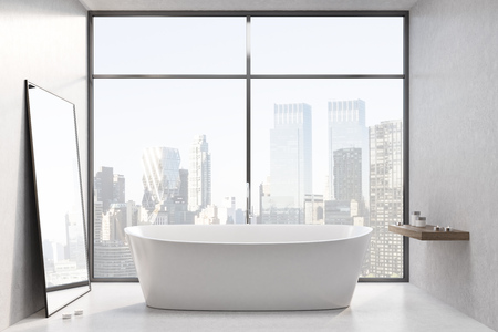 frontal: White bathtub is standing on stairs in a white room with a large window. A mirror near the wall and a shelf. 3d rendering