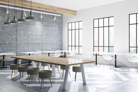 corner of a modern cafe interior with concrete walls and a gray stock photo picture and royalty free image image 80545636 - Concrete Cafe Interior