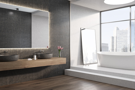 cleanliness: White bathtub is standing on stairs in a white room with a large window and a round ceiling lamp. A mirror on the wall and two sinks. Side. 3d rendering