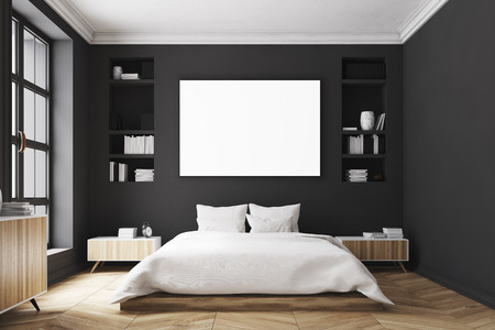 Interior of a modern luxury bedroom with black walls, a large bed in the center of the room, two bookcases by its sides, a large window and a framed horizontal poster. 3d rendering mock up