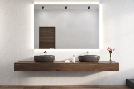 Large horizontal mirror is hanging on a white bathroom wall. There are two sinks on a wooden shelf below it and a vase of flowers. 3d rendering Banco de Imagens