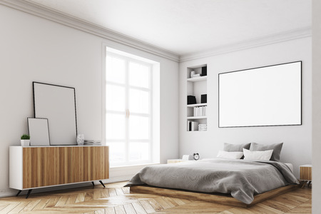 Corner Of A Modern Luxury Bedroom With White Walls, A Large Bed In The  Center
