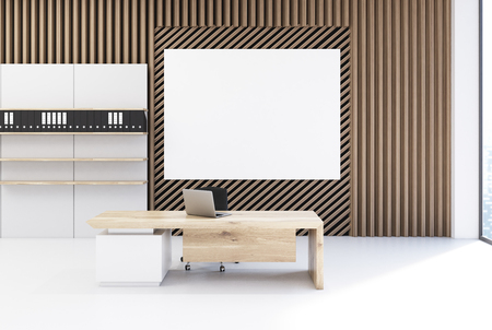 ceo: Plank office interior with walls made of straight and diagonal planks of wood. There is a poster above a desk with a computer. Bookshelf with folders in the corner. 3d rendering mock up