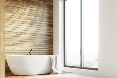 frontal: Wooden bathroom interior with a white tub and a towel handing on it and a large window. Side. 3d rendering mock up