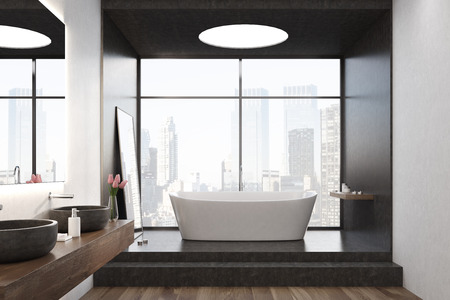 cleanliness: White bathtub is standing on stairs in a black room with a large window and a round ceiling lamp. A mirror on the wall and two sinks. 3d rendering