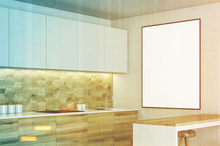 Side View Of A Modern Kitchen Interior With White Walls, Panoramic ...