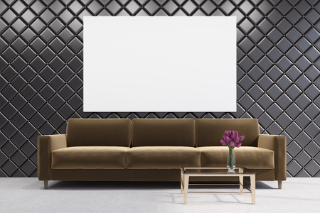 luxury apartment: Brown sofa is standing in a living room with a diamond pattern wall, a coffee table and a vase of flowers. 3d rendering mock up