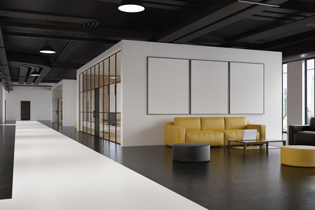 Office waiting room interior with a yellow sofa, a gray armchair, a poster gallery on a white wall and a narrow table with a laptop on it. Corner. 3d rendering mock up