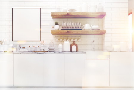 simple frame: White kitchen interior with brick walls, massive wooden shelves with dishes and kitchenware on them, countertops and a framed vertical poster. 3d rendering mock up toned image Stock Photo