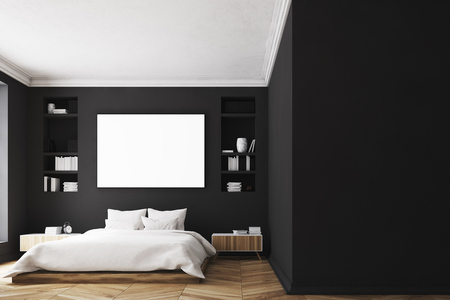 framed: Modern luxury bedroom with black walls, a large bed in the center of the room, two bookcases by its sides, a large window and a framed horizontal poster. 3d rendering mock up Stock Photo