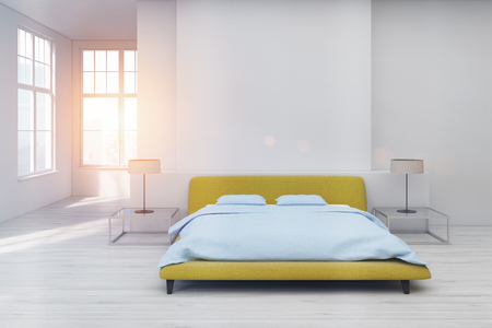 double bed: Front view of a bedroom interior with a yellow double bed standing in the center of a room with white floor. Glass bedside table with a lamp. Rectangular poster. 3d rendering mock up toned image
