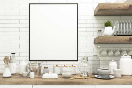luxury apartment: Close up of a kitchen interior with white wooden walls, massive wooden shelves with dishes and kitchenware on them, countertops and a framed vertical poster. 3d rendering mock up