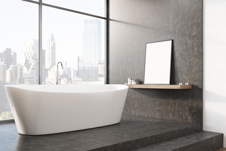 cleanliness: White bathtub is standing on stairs in a black room with a large window. A poster is standing on shelf. 3d rendering