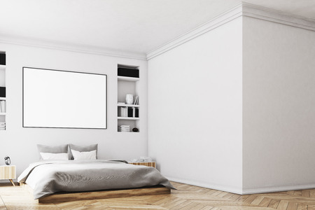 framed: Interior of a modern luxury bedroom with white walls, a large bed in the center of the room, two bookcases by its sides, a large window and a framed horizontal poster. Blank wall. 3d rendering mock up