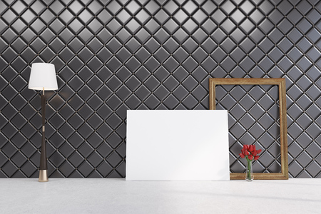 illuminate: Horizontal poster is standing on the floor of a room with diamond shape pattern on the walls. There is a frame and a vase of red flowers near it. 3d rendering mock up