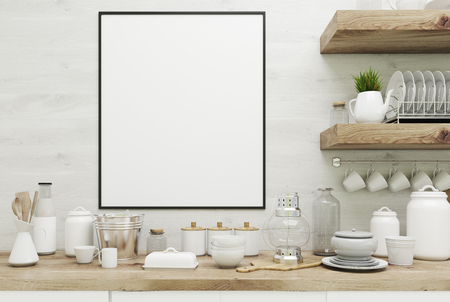 simple frame: Close up of a white kitchen interior with wooden walls, massive wooden shelves with dishes and kitchenware on them, countertops and a framed vertical poster. 3d rendering mock up