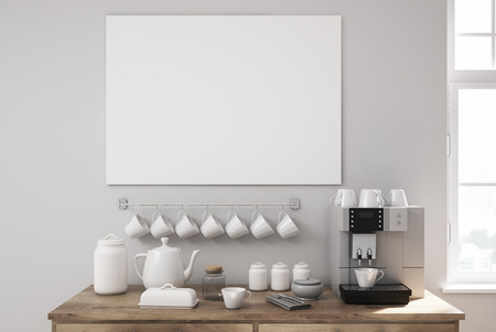 Gray kitchen interior with a wooden table, a coffee machine standing on it and a horizontal poster on a wall. 3d rendering mock up