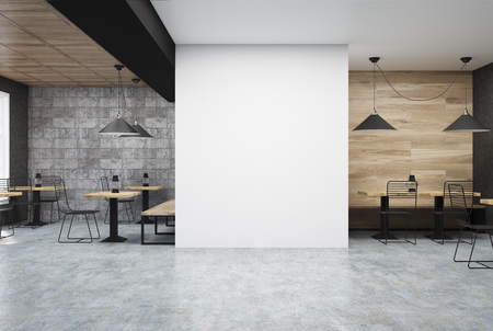 wooden and dark gray wall cafe interior with a large white wall fragment in the center - Large Cafe Interior