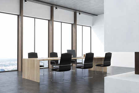 consult: Side view of a conference room interior with white walls, concrete floor, panoramic windows and a long table with laptops with black office chairs around it. Fireplace. 3d rendering mock up