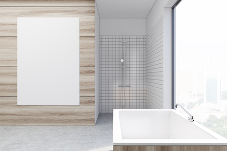 modern interior: Luxury wooden bathroom interior with a wooden tub and a shower. Vertical poster on a wall. 3d rendering mock up toned image Stock Photo