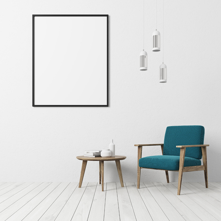 White textured wall living room interior with a white floor, a blue armchair, a coffe table with books and bottles and a vertical framed poster. 3d rendering mock up