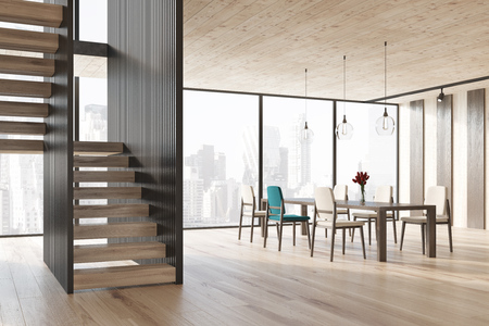modern interior: Black and wooden stripped dining room interior with a wooden floor, a long table standing in the center of the room with white and a blue chair around it. Stairs. 3d rendering mock up Stock Photo