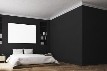 modern interior: Interior of a modern luxury bedroom with black walls, a large bed in the center of the room, two bookcases by its sides, a large window and a framed horizontal poster. Blank wall. 3d rendering mock up