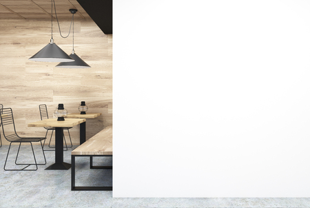 wooden wall cafe interior with a large white wall fragment in the corner and old oil - Large Cafe Interior