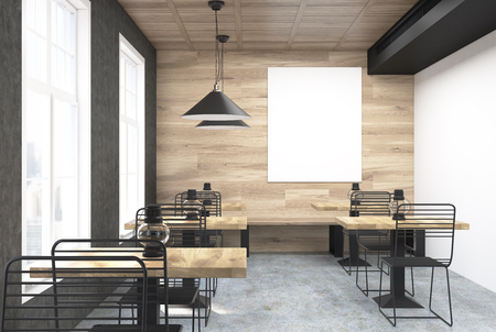 wooden and white wall cafe interior with old oil lamps on square wooden tables and a - Large Cafe Interior