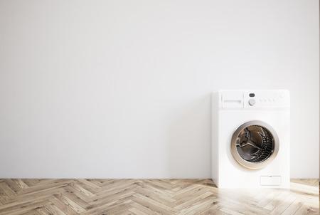 木製の床、灰色の壁と白い洗濯機ランドリー ルームのインテリア。3 d レンダリングをモックアップします。
