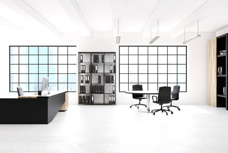 ceo: Loft office interior with an original table, a computer standing on it, a bookcase with black binders and large windows. Side view. 3d rendering mock up