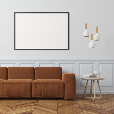 Living room interior with a white wall, a wooden floor, a framed horizontal poster hanging above a brown sofa and a coffee table with books and glasses. 3d rendering mock up Stock Photo