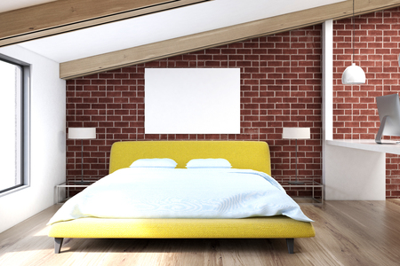 Brick attic bedroom with a wooden floor, a large window, a yellow bed and a white table with a computer. 3d rendering mock up
