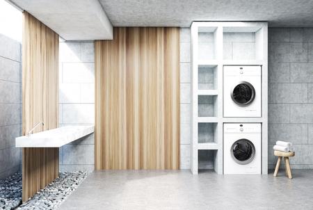 シンク、洗濯機、鍋、棚のセットでツリーと灰色のランドリー ルームのインテリア。木製の壁の断片。側面図です。3 d レンダリングをモックアップ