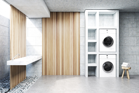 Gray laundry room interior with a sink, two washing machines, a tree in a pot and a set of shelves. Wooden wall fragment. Side view. 3d rendering mock up