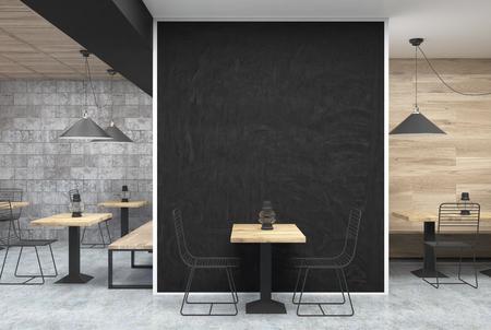 센터, 그것 근처 병 테이블 및 사각형 나무 테이블에 오래 된 석유 램프에 큰 검은 벽 조각과 어두운 회색 벽 카페 인테리어. 3 차원 렌더링 조롱