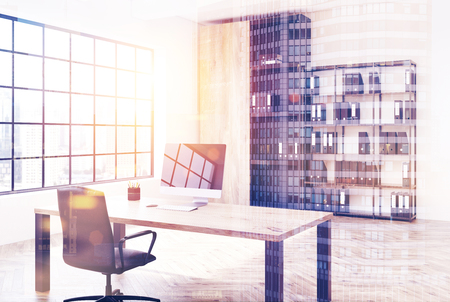 White loft office interior with a round table, a bookcase with binders, white walls and a rectangular window with a square pattern Side view 3d rendering mock up toned image double exposure Stockfoto