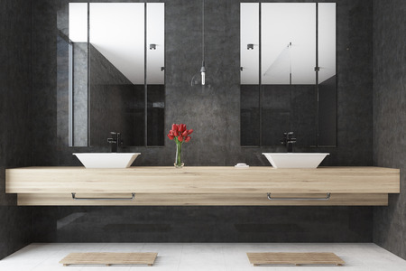 sinks: Black bathroom interior with a wooden shelf with two sinks on it and mirrors. There are flowers in a vase. 3d rendering
