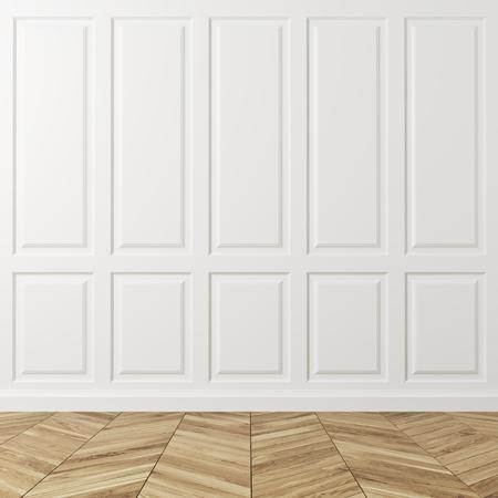흰색 사각형 패턴 벽과 빛 나무 바닥 빈 룸 인테리어. 새롭고 편안한 숙박 시설의 개념. 3 차원 렌더링 조롱