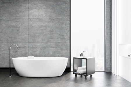 Gray bathroom interior with a white tub, a round sink, a mirror above it and a gray table. 3d rendering mock up Stockfoto