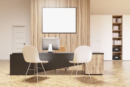 closet door: White and wooden office interior with a bookcase, a closet, a door, a round table with brown chairs and a horizontal framed poster on a wall. 3d rendering mock up