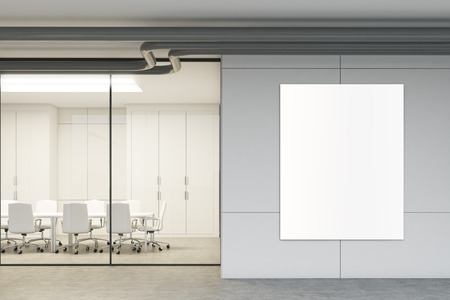 Side view of a glass meeting room with a poster hanging on a gray wall. Glass walls, a long table with white chairs around it. 3d rendering mock up
